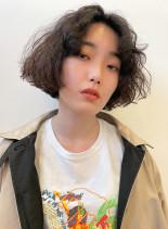 ハードパーマ*ワンレンボブ(髪型ボブ)