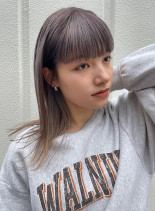 外国人風☆ラベンダーベージュ(髪型セミロング)