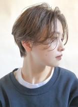 かきあげセンター分け○パーマショート(髪型ショートヘア)