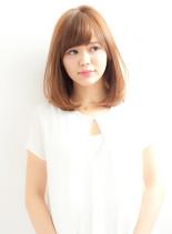 王道ニュアンスストレートセミディ(髪型ミディアム)