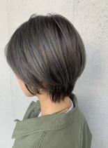 40代50代大人女性小顔丸みショート(髪型ショートヘア)