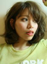 -5歳の伸ばしかけパーマミディアムボブ(髪型ボブ)