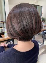 小顔内巻きショートボブ(髪型ショートヘア)