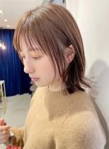 透明感カラー♪顔まわりレイヤースタイル(髪型ボブ)
