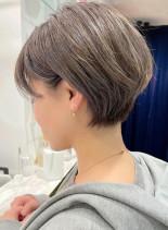 透明感カラー☆大人可愛い丸みショート(髪型ショートヘア)