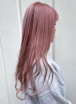 春にかわいいハイトーンピンクカラー!!(髪型ロング)
