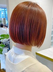 ぱつっとミニボブ☆ピンクオレンジカラー☆