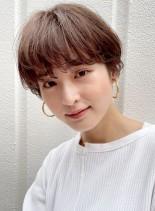 女性らしい柔らかパーママッシュショート(髪型ショートヘア)