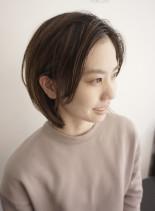大人センター分けナチュラルハイライトボブ(髪型ボブ)