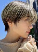 マッシュショート☆ハイトーン(髪型ショートヘア)