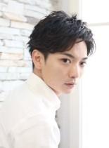 簡単セット・大人男子のセクシーパーマヘア(髪型メンズ)