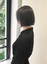 ブルーグレー ミニボブ(髪型ボブ)