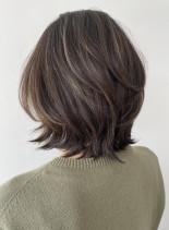 40代〜 レイヤー×地毛ハイライトヘア(髪型ボブ)