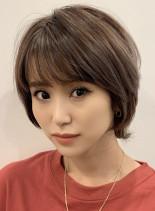 大人小顔ショート/白髪カバーハイライト(髪型ショートヘア)