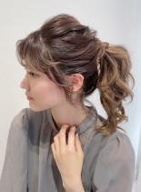 ボリュームポニーテール(髪型セミロング)