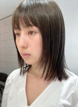 切りっぱなしレイヤー★透明感カラー(髪型ミディアム)