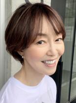 50代60代ショート白髪カバーハイライト(髪型ショートヘア)