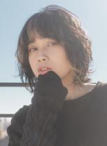 パーマ風ウェットロブ(髪型ボブ)