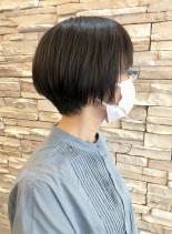 マスクにも相性の良いショートボブ(髪型ショートヘア)