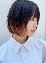 裾カラー★ナチュラルボブ(髪型ボブ)