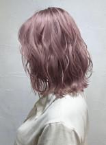 【トレンド透明感カラー】ペールピンク(髪型ミディアム)