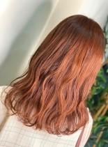 韓国風オレンジカラー(髪型セミロング)