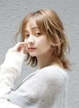 2021夏ヘア透明感UPミディアムウルフ(髪型ミディアム)