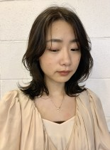 くびれヘア ミディアム セミロング (髪型ミディアム)