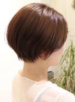 30代からの丸みショートボブ前髪なし(髪型ショートヘア)