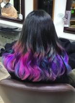 ユニコーン裾カラー(髪型セミロング)