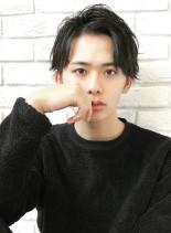 メンズショート・かきあげ 黒髪 パーマ(髪型メンズ)