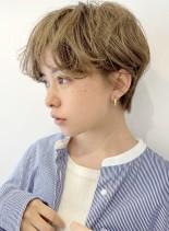 ミルクティーベージュショート(髪型ショートヘア)