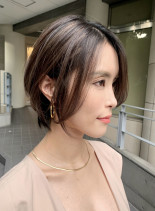 大人ショートボブ/白髪カバーハイライト(髪型ショートヘア)