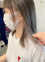 インナーカラー☆グレージュカラー(髪型ミディアム)