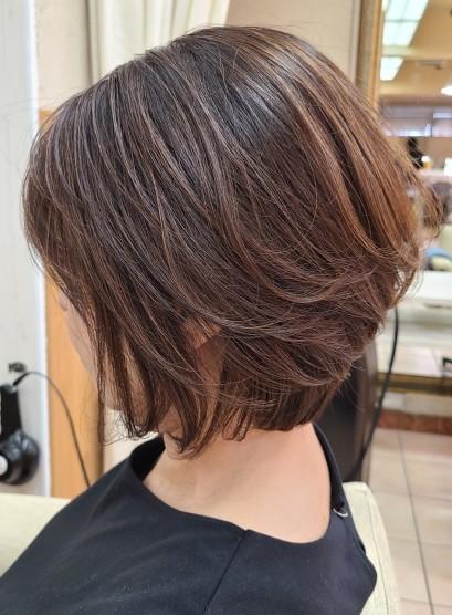 40代50代白髪カバー◎ひし形ショート(髪型ボブ)