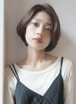 前髪長めショートボブ30代40代50代(髪型ショートヘア)