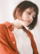 ピンクベージュインナーカラーボブ(髪型ボブ)
