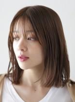 シースルーバング × ロブ(髪型ミディアム)