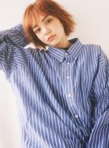 オレンジカラーショートボブ(髪型ショートヘア)