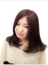 ナチュラルストレート(髪型ミディアム)