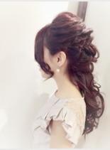 結婚式ルーズハーフアップ(髪型ロング)