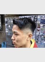 フェード×アップバング(髪型メンズ)