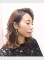 かきあげ前髪スタイル(髪型ミディアム)