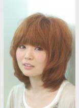 ハニーカラー ミディアム(髪型ロング)