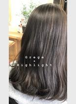 外国人風ヘアカラー(髪型セミロング)