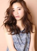 前髪かきあげウェーブ(髪型ロング)