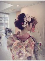 和装アップスタイル(髪型ミディアム)