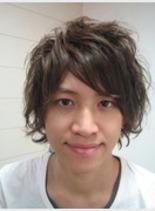 外人風ミディアムショート(髪型メンズ)