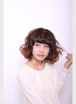 外国人風カールボブ(髪型ボブ)